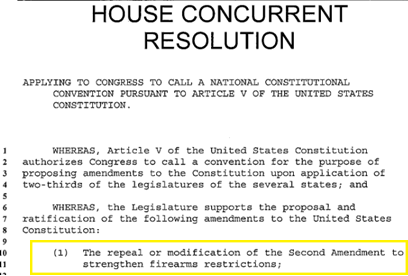 Hawaii Article V Resolution to repeal the Second Amendment
